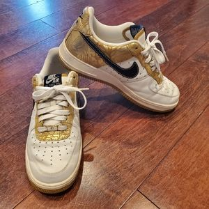 Nike Air Force 1 XXV Gold, Black, White Shoes 10